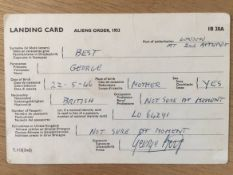 1969 George Best Port Landing Card: Fully filled out by George Best in his own handwriting. Signed