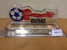 Trophy Presented To George Best Los Angeles Aztecs. Trophy was presented by the TJ Martell Aids