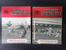 63/64 Barnsley v Manchester United Football Programmes: FA Cup 5th Round match with two different
