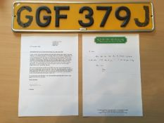 Rear Number Plate from George Bests 1971 Blue E- Type Jaguar GGF 379J: Comes with Letter of