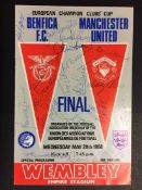 1968 European Cup Final Signed Football Programme: Benfica v Manchester United dated May 29th 1968