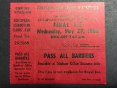 1968 European Cup Final Unused Football Ticket: European Cup Final between Manchester United and
