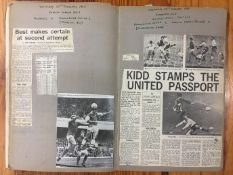 1967/68 Manchester United Football Scrapbook: Original newspaper match reports and pictures stuck