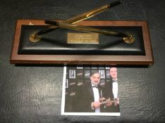 George Best Manchester United + Ireland Football Writers Award: Two 10ct rolled gold pens attached