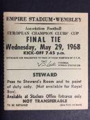 1968 European Cup Final Stewards Match Ticket: Manchester United v Benfica harder to obtain Stewards