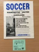 1967 Auckland v Manchester United Football Programme + Ticket: Dated 28th May 1967 played in New