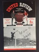 63/64 George Best Signed Manchester United Debut Football Programme: Man United v West Brom which