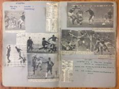 1966/67 Manchester United Football Scrapbook: Original newspaper match reports and pictures stuck in