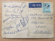 1967 Manchester United Summer Tour Postcard: Sent by John Aston to his family in England. Signed