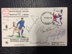 1968 European Cup Final Manchester United v Benfica Signed FDC: Signed by George Best, Matt Busby,