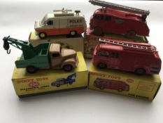 4 Boxed Dinky vehicles, #955 Fire Engine with exte