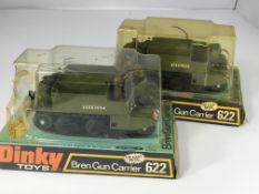 2 x Dinky Bren gun carriers # 622 both with figure