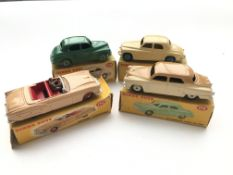 4 Dinky cars, #152 a Morris Oxford Saloon, #156 a