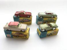 4 boxed Corgi cars, #305 a Triumph T.R.3, #224 a B