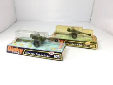 2 Dinky 6 pounder anti-tank guns boxed #625