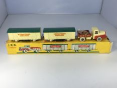 A French diecast boxed circus Lorry and 2 carriage