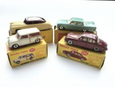 4 Boxed Dinky cars, #197 a Morris mini-Traveller,#