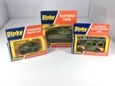 A Dinky Armoured patrol car #667, a Land Rover Dis