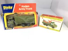 A Dinky Foden army truck #668 and a Berliet missil