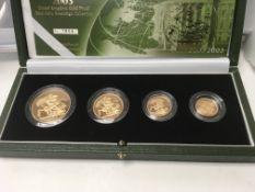 A gold 2003 four coin sovereign collection compris