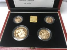 A gold Sovereign set 1998 comprising £5 double sov