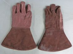 Pair of leather and sheepskin vintage driving gloves, c1920's
