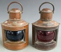 A pair of copper port and starboard ship's lamps, height 26cm