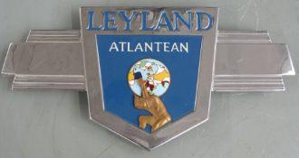 Leyland Atlantean chrome and enamel bus badge, width 38cm