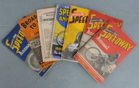 Six 1949 /1950s Speedway annuals including Stenners, Evening World and a Broadside to Fame booklet