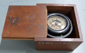Mahogany cased gimbal ship's compass by Wilcox, Crittenden & Co, marked to side of case SS William I