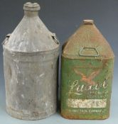 Luxol oil can and a similar conical topped can, height of tallest 56cm