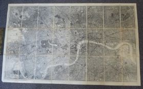 London Underground Goods Railways fold out map in cloth cover with gilt lettering, 100 x 163 cm