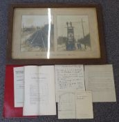 Framed pair of photographs titled as 'Track Distorted by Coal Subsidence Bell Hill', draft