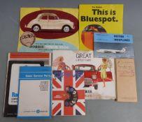 Classic motoring ephemera including Morris Mini-Minor and Minor 1000 brochures, buff logbook for a