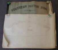 Bound book of plans and sections of the Southern Motor Road from London to Brighton dated 1929, 68 x