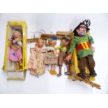 Five Pelham puppets comprising Giant, Cinderella, Dutch Girl and two others, two in original boxes.