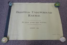 Two bound books of plans and sections relating to the Brighton Underground railway, dated 1898, by
