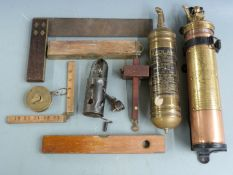 Two vintage car or similar fire extinguishers comprising Nuswift and Redlam, 33ft tape measure, MkII