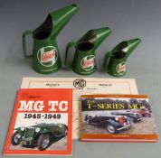 Castrol oil cans, MG TC oiling chart and two MG books