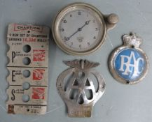 Smiths vintage car clock marked L to dial together with an RAC badge, AA badge and a Champion