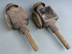 Pair of coach lamps with maker's name Collins & Co, Oxford and Faringdon, height 47cm
