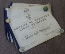 Six bound books of plans and sections relating to the County of Hertford Light Railway, comprising