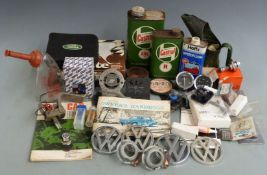 Motoring collectables to include Cirencester Car Club badge, Castrol Oil jug and tins, timing light,