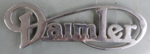 Daimler bus or similar chrome badge, length 26cm