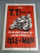 1961 Isle of Man TT Races painted wooden panel, 60 x 40cm
