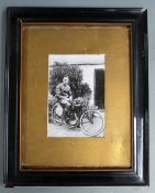 Framed photograph of Eric Williams on his 1921 TT wining AJS, overall size 51 x 41cm