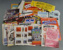 Mainly 1970's drag racing ephemera including Santa Pod Raceway certificates of speed, programmes,