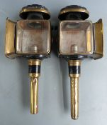 Pair of coach lamps with maker's name Gage Bros, Cardiff, to one, height 48cm