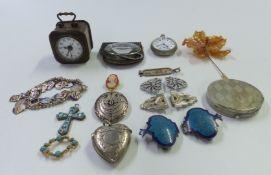 A hallmarked silver heart shaped vesta, Birmingham 1897, silver charm bracelet, micro mosaic