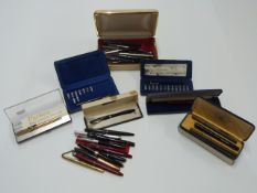 Thirty various fountain and ballpoint pens and propelling pencils including Parker 17, Waterman,